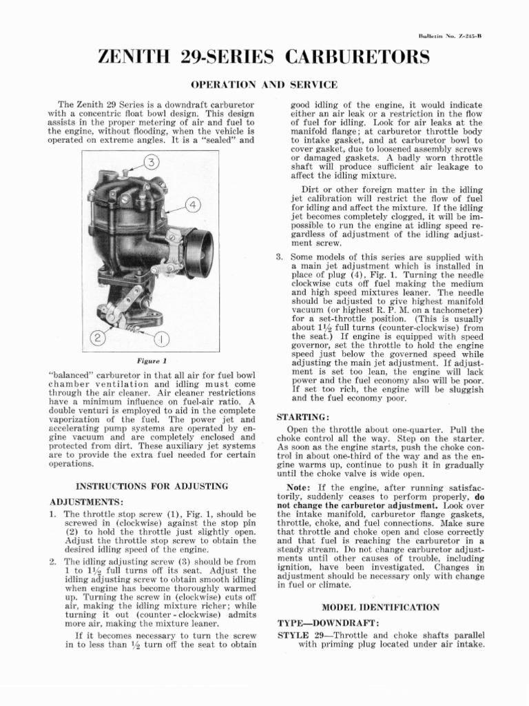Zenith Carburetor Identification Diagram Model Service Manual 768x1024