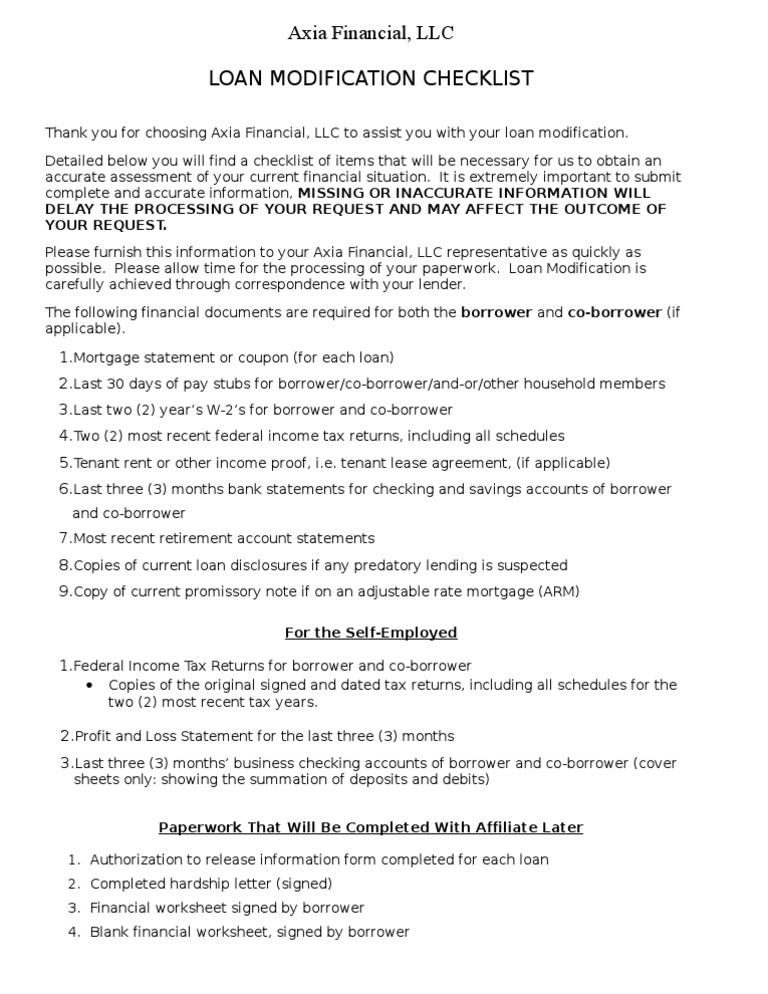 Axia Loan Modification Checklist Docshare