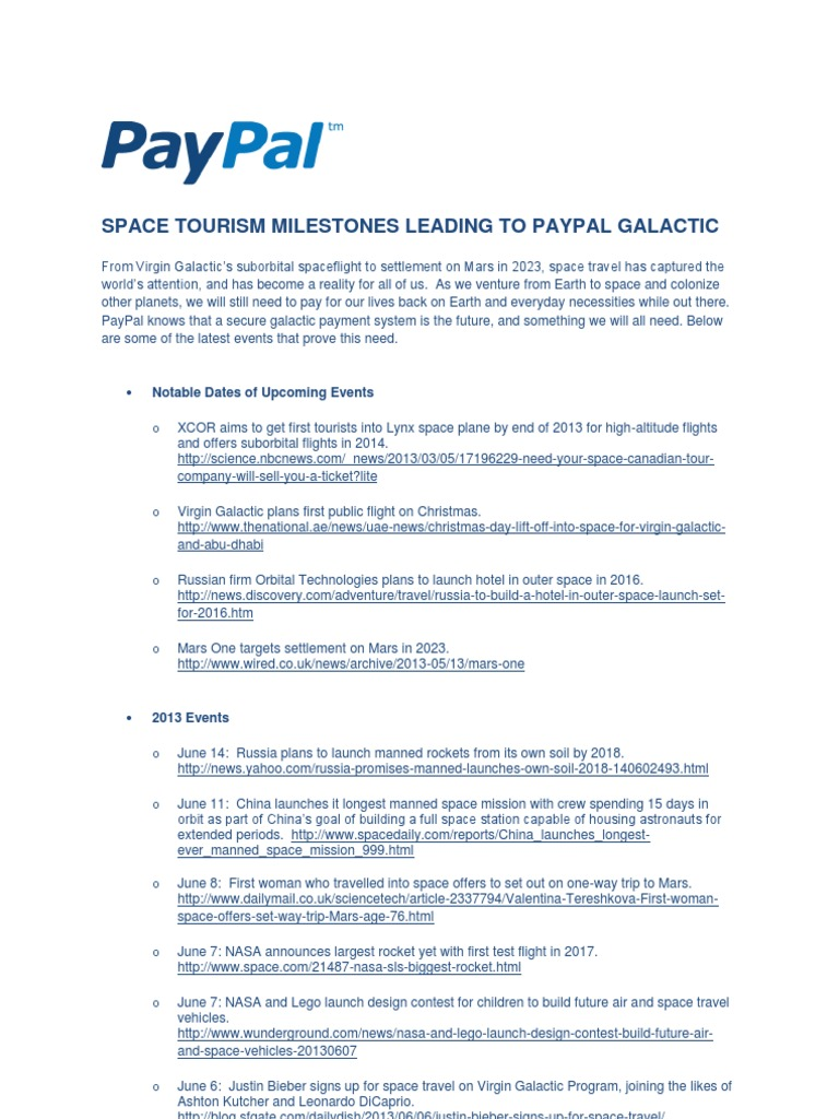 PayPal Galactic Space Tourism Milestones - DocShare tips