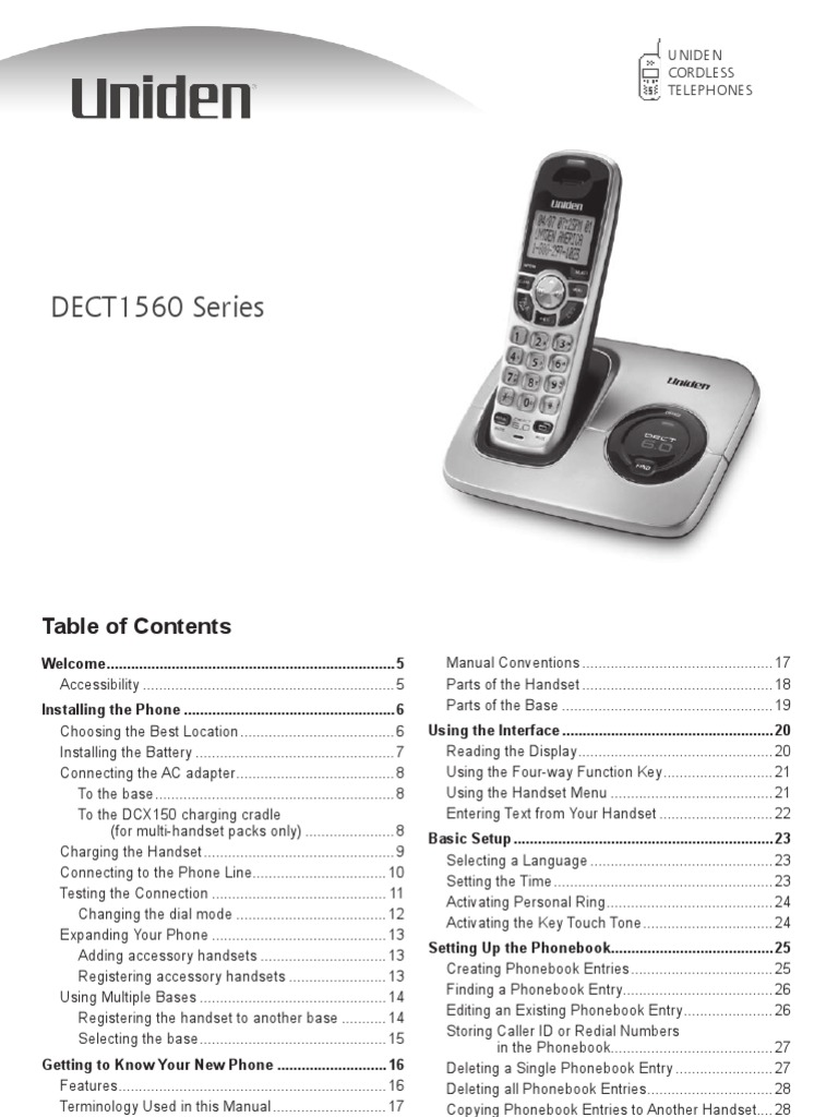 Uniden DECT 1560om Cordless Phone Manual