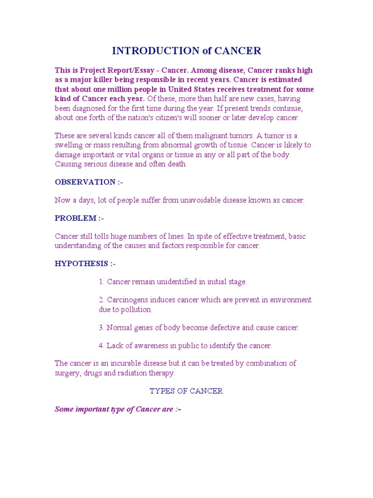 cancer essay introduction Cancer essay introduction (creative cv writing service) new projects surrey new build this fantastic minimalist new build makes use of a ground source heat pump and.
