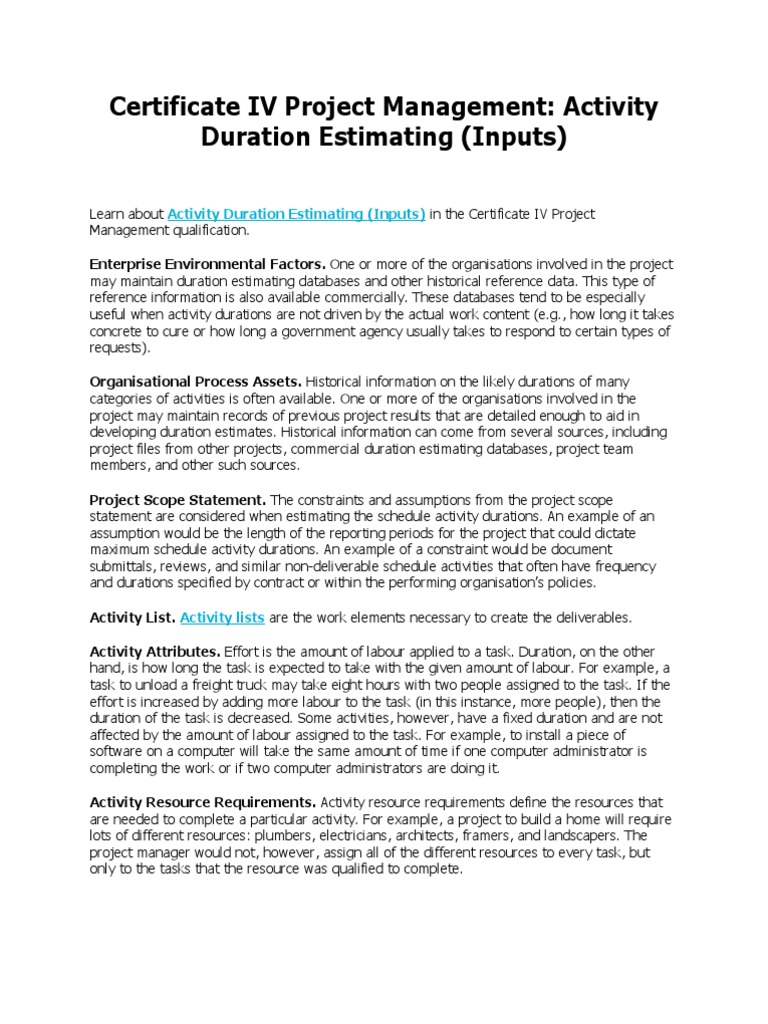 Download Certificate Iv Project Management Activity Duration