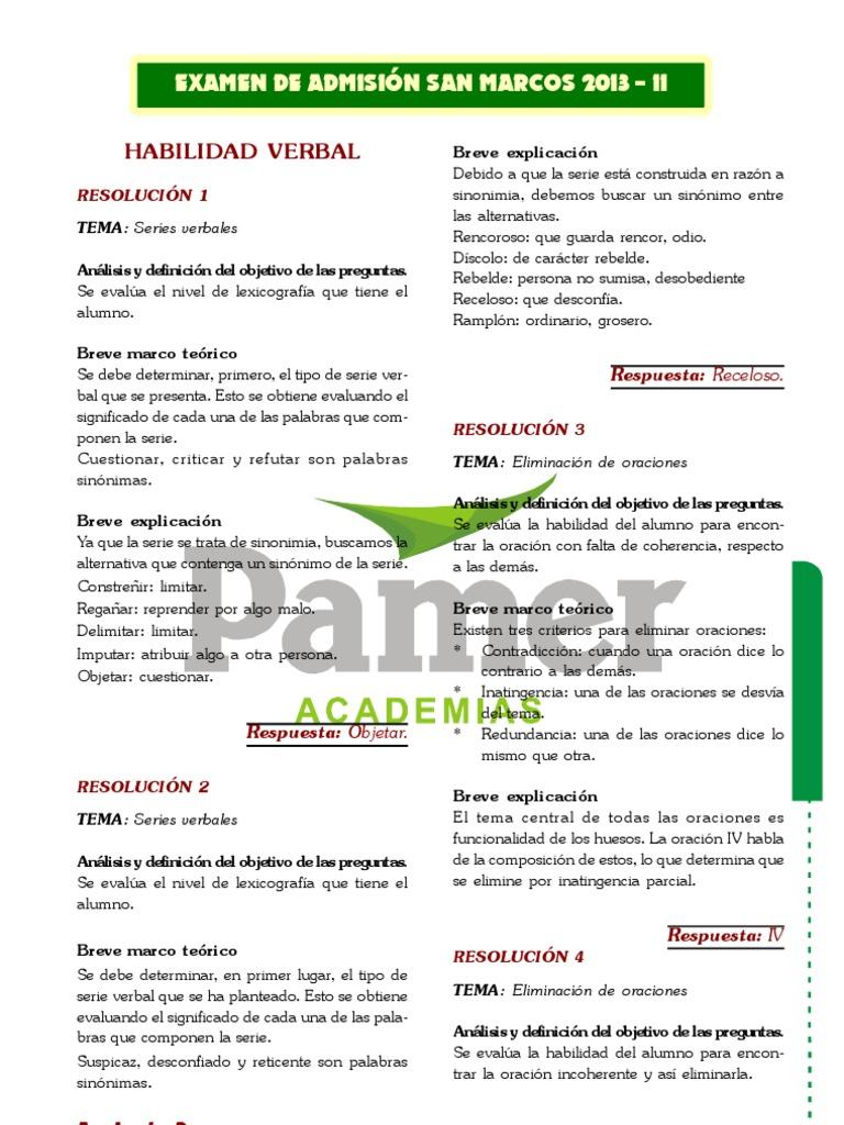 Download 6433287 Examen de Ingreso a San Marcos 2013 Desarrollado ...