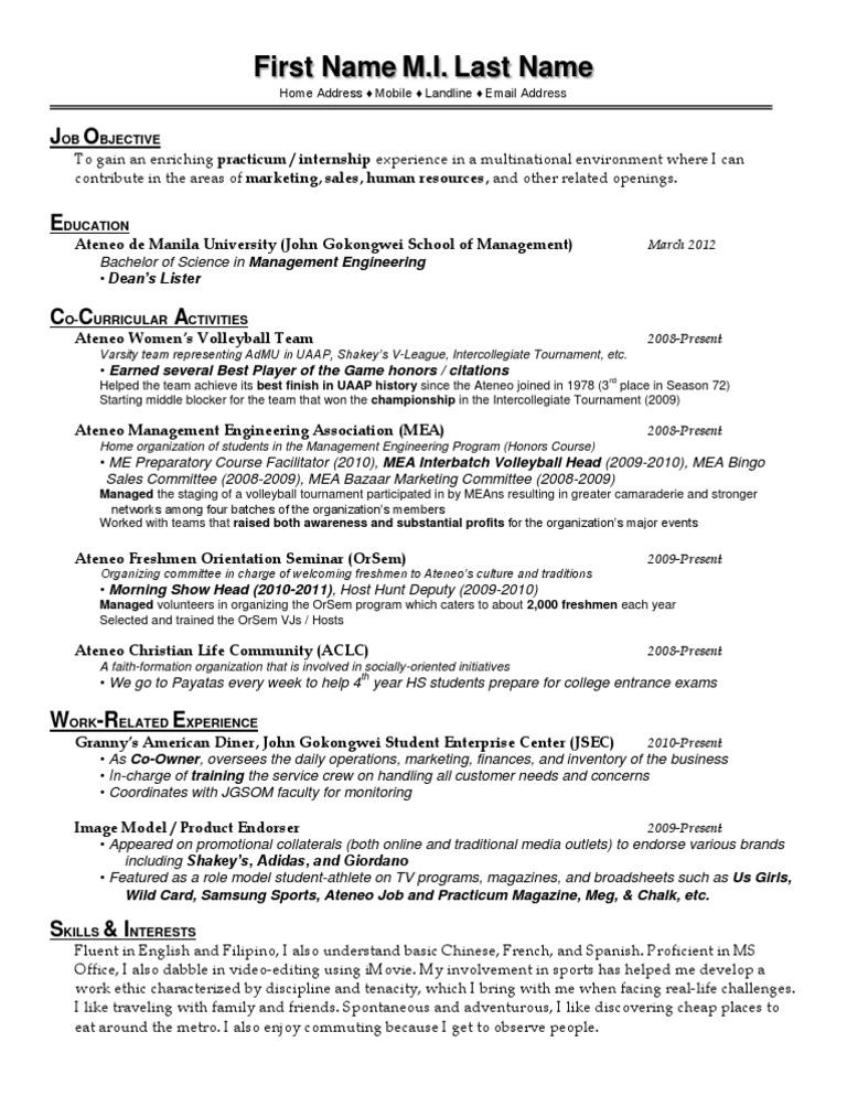 wharton resume format