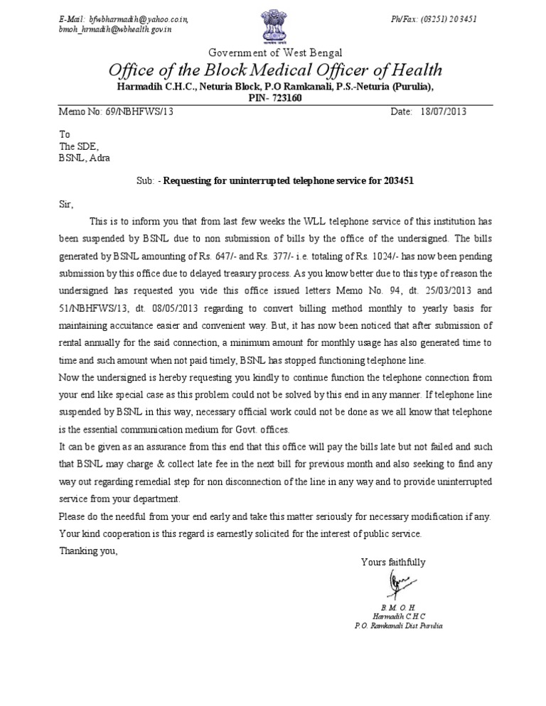 Letter to the SDE, Adra Reg  Request for Reconnection of