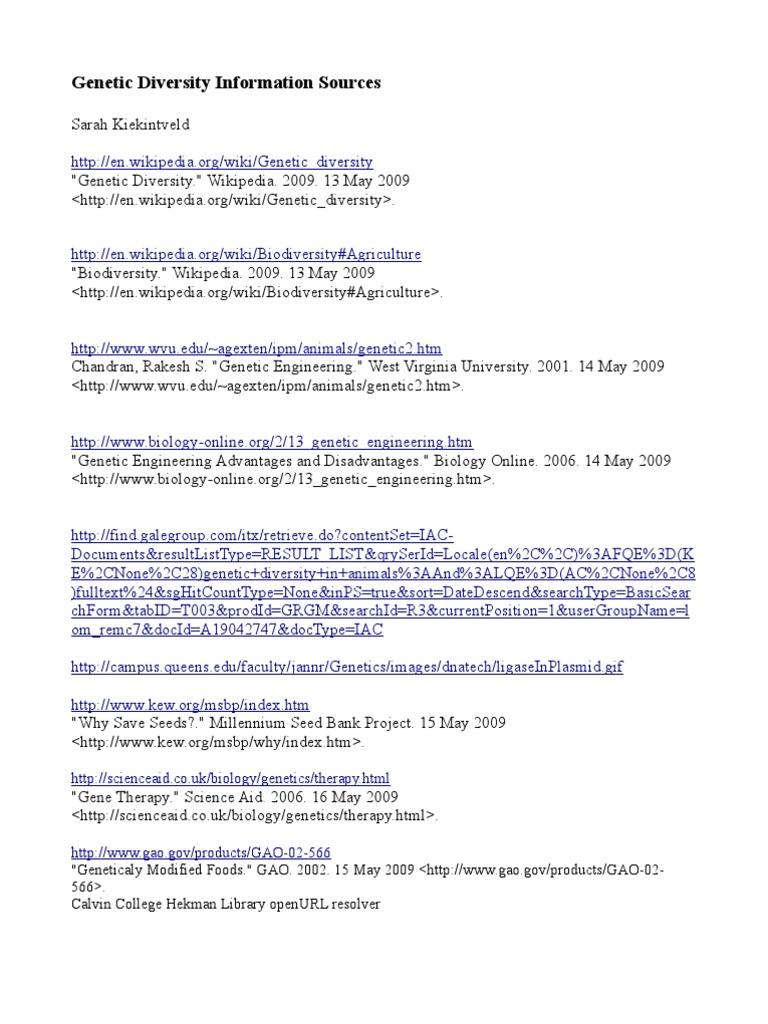 Genetic engineering wikipedia - Genetic Diversity Information Sources Sarah Kiekintveld Docshare Tips