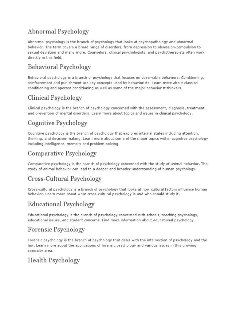 psychology branches