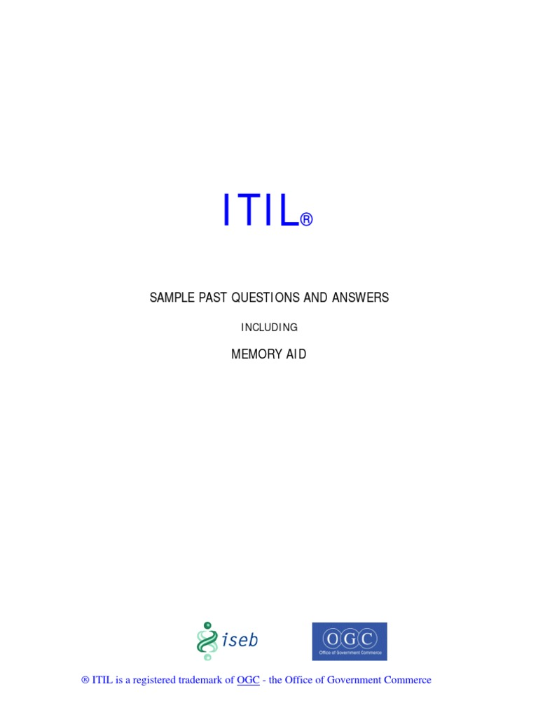Itil sample questions memory aid interview qs docshare xflitez Gallery