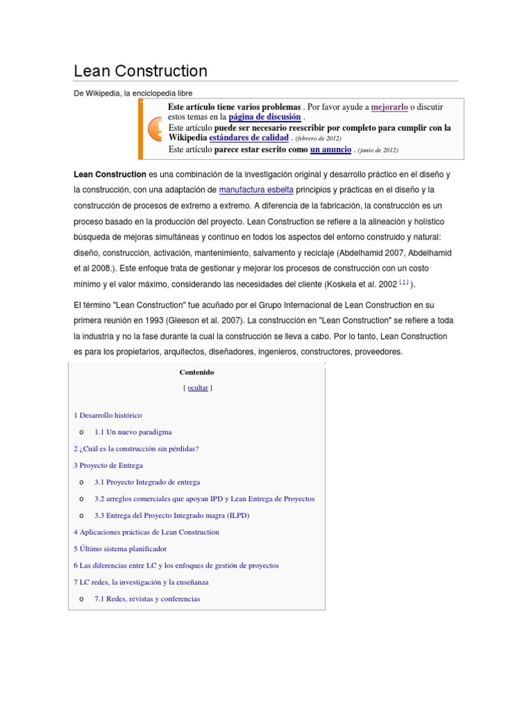 Lean construction wikipedia - Recommended