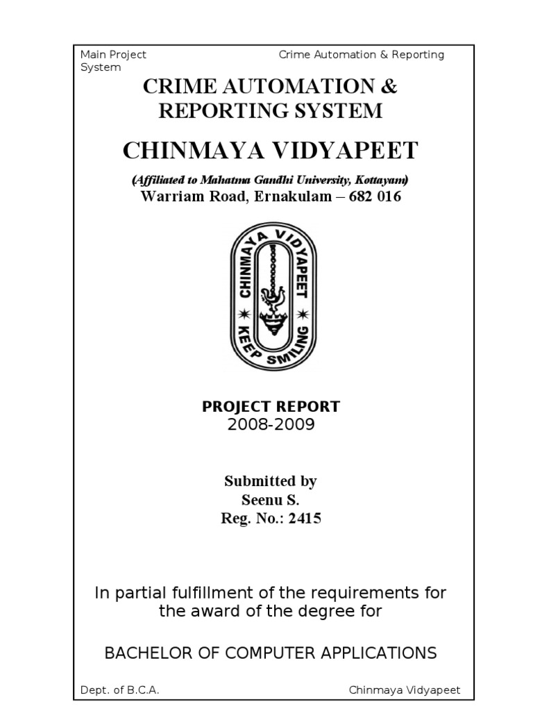 Crime Reporting System Project Report - DocShare tips