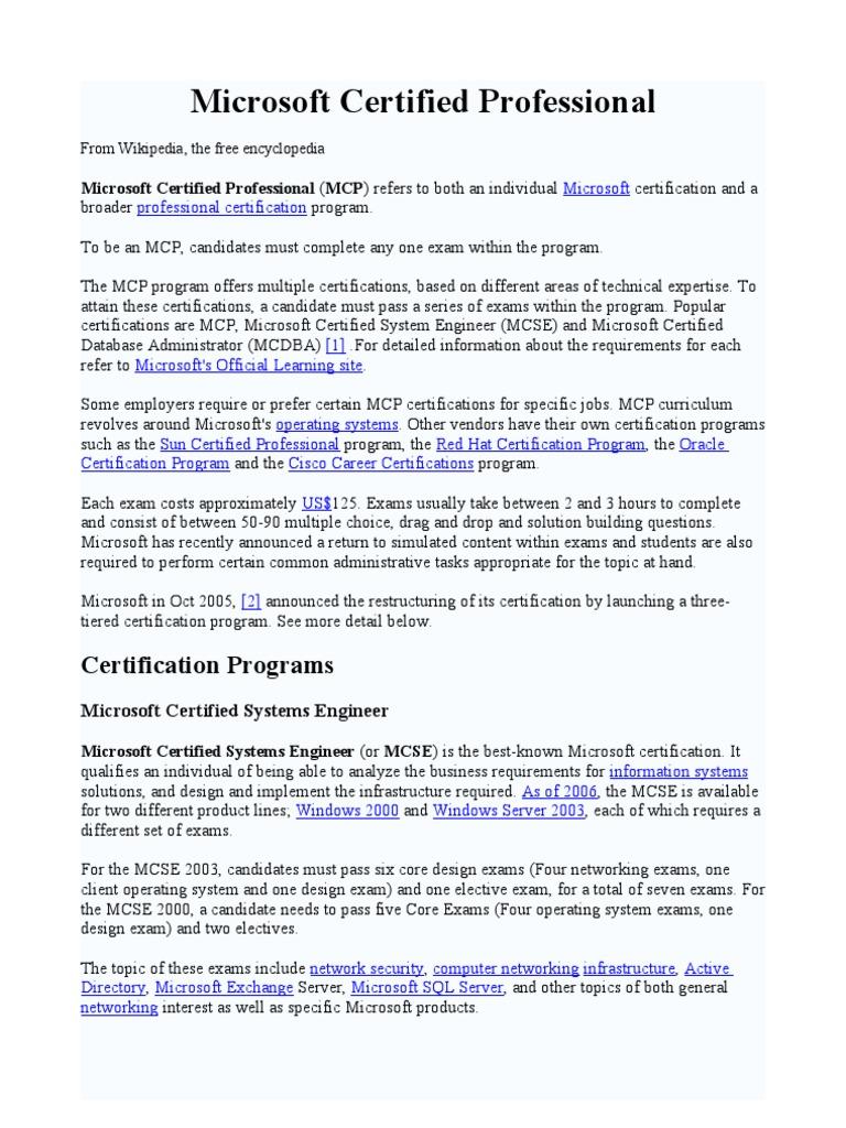 Microsoft Certified Professional Wikipedia Docshare