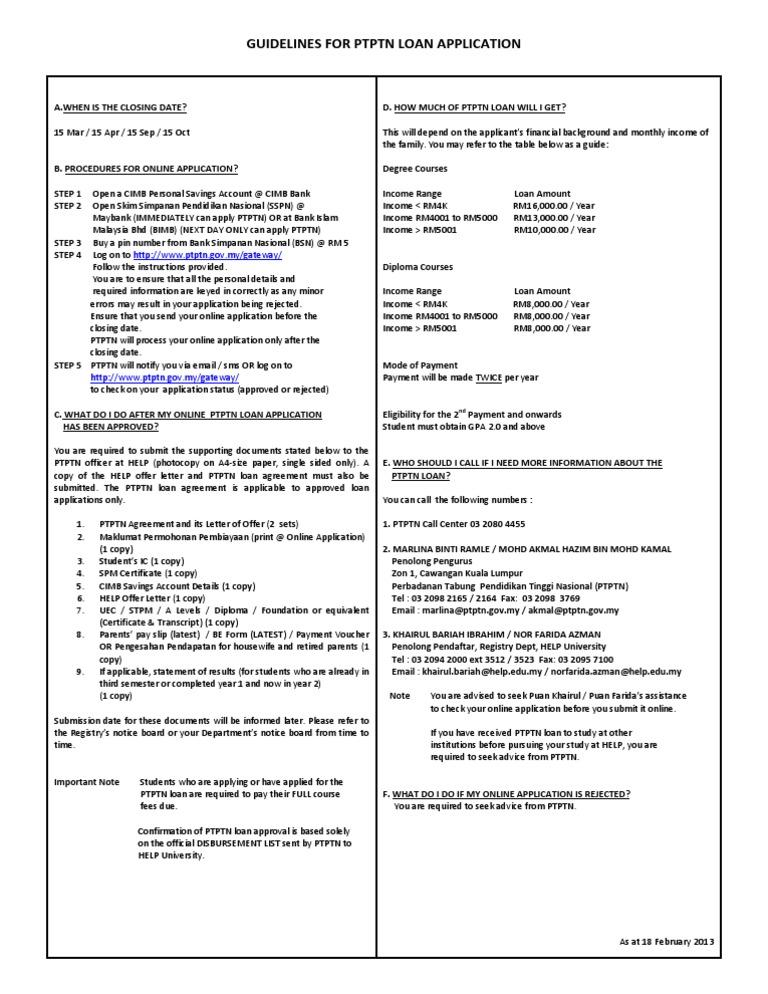 Ptptn Loan Online Guidelines Docshare