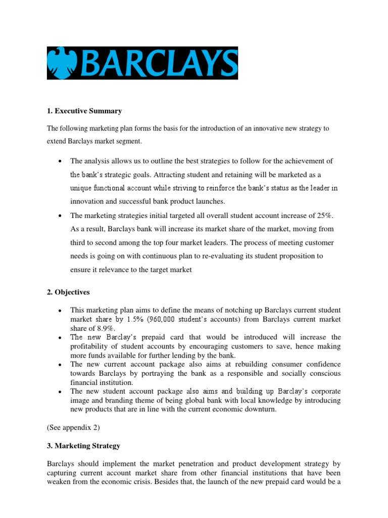 a case study of barclays bank marketing essay Investment and private banking: case of barclays the impact of recent financial crisis on the performance of barclays has been assessed in the report based on analysis, some of the recommendations have also been provided to improve the performance of barclays bank.