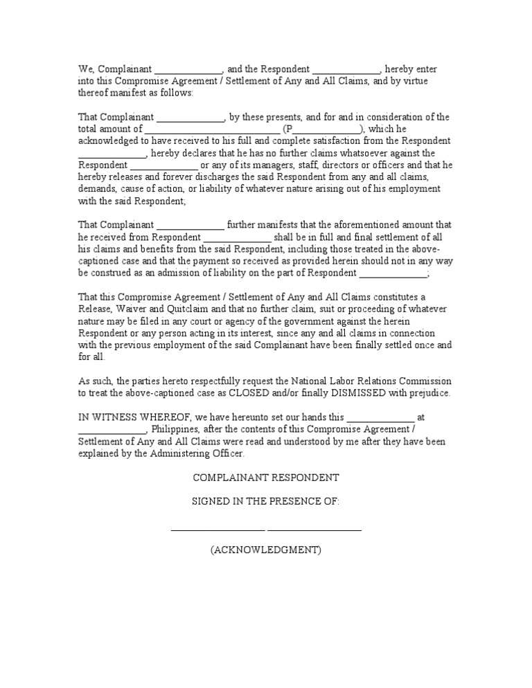 Download Sample Compromise Agreement Docshare