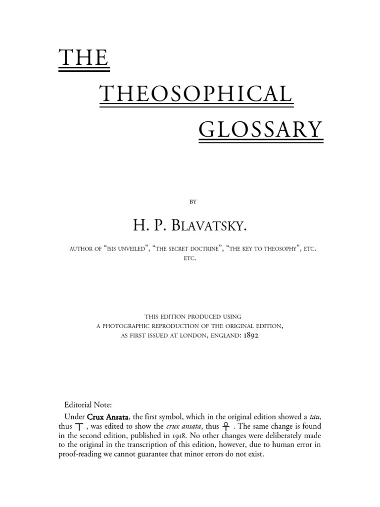 Theosophical Glossary Print Docshare