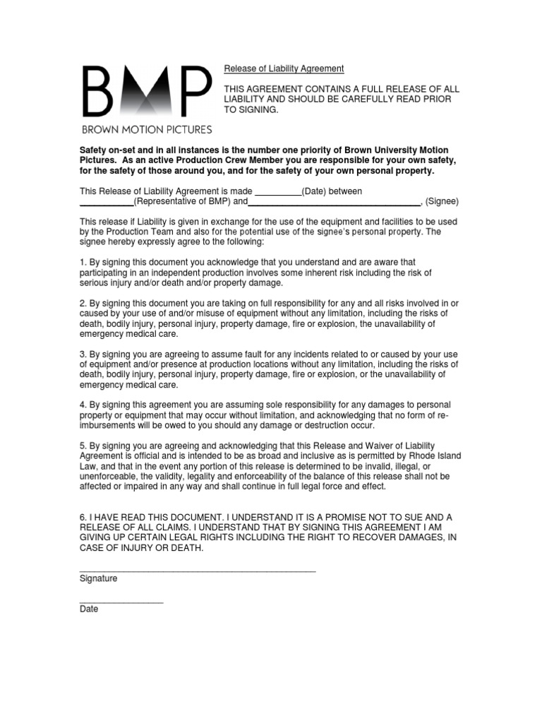 Download Release Of Liability Agreement Bmp Docshare