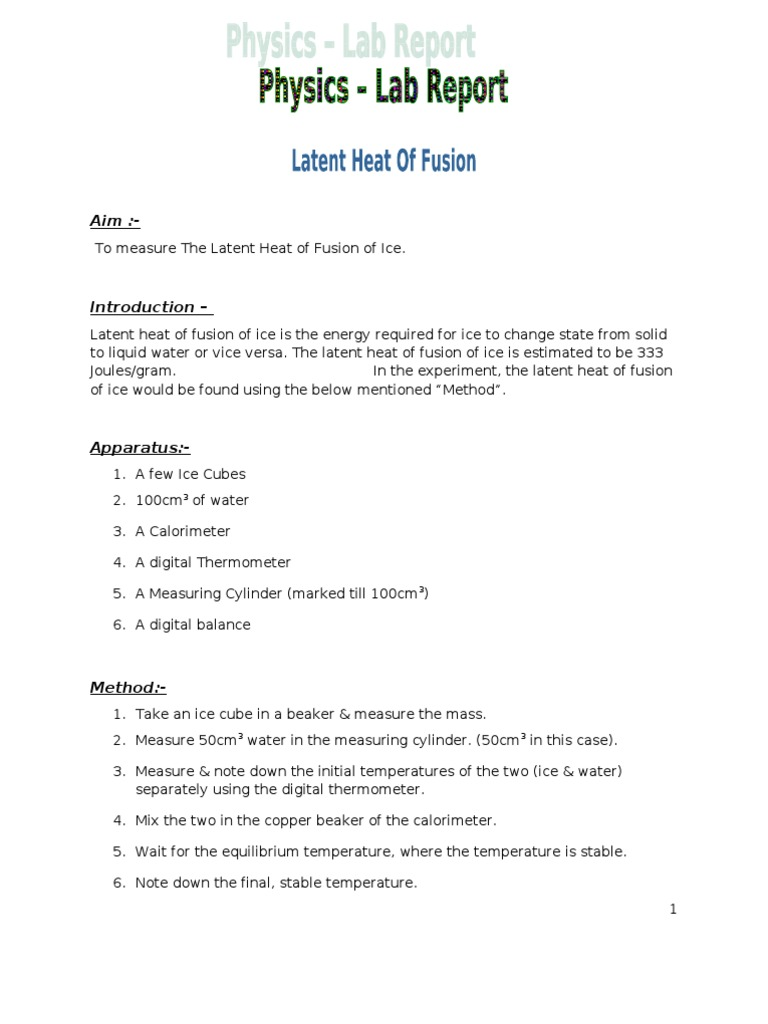 Physics Lab - Latent Heat of Fusion of Ice - DocShare tips