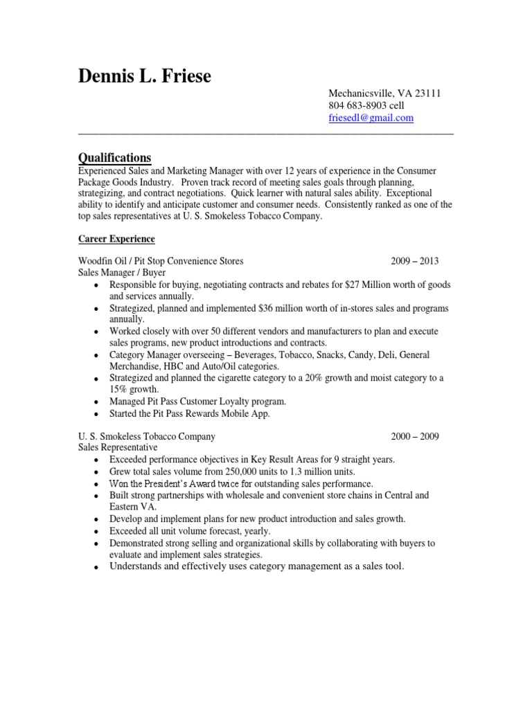 Download Medical Veterinary Sales Manager in Richmond VA Resume Gary ...