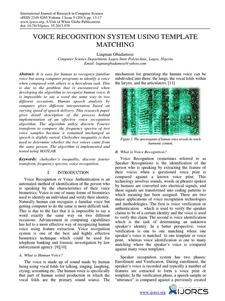 Download Voice Recognition System Using Wavelet Transform and Neural