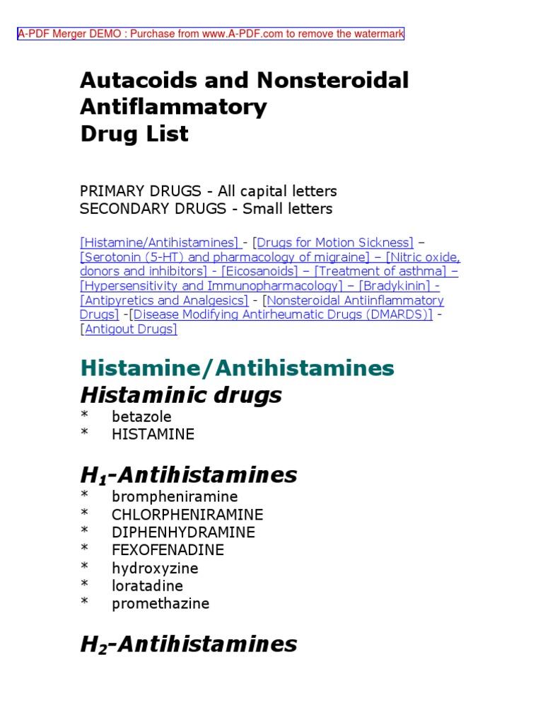 Pharmacology Drug List - DocShare tips