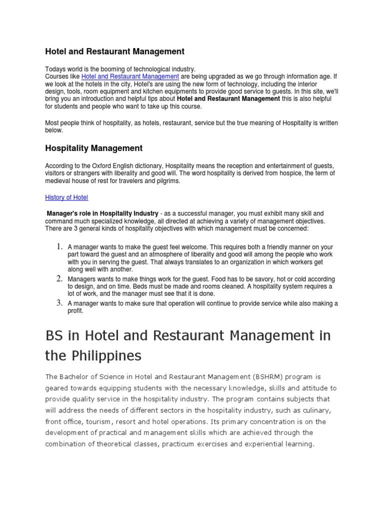 practicum report for hotel and restaurant