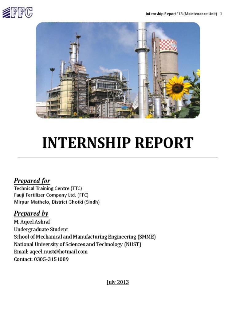Internship Report- Fauji Fertilizer Company (FFC) - DocShare