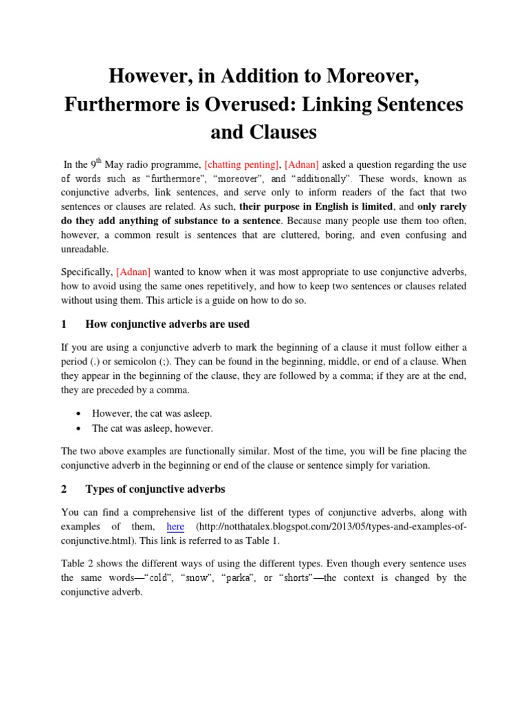 Transitioning Between Sentences And Clauses Docshare