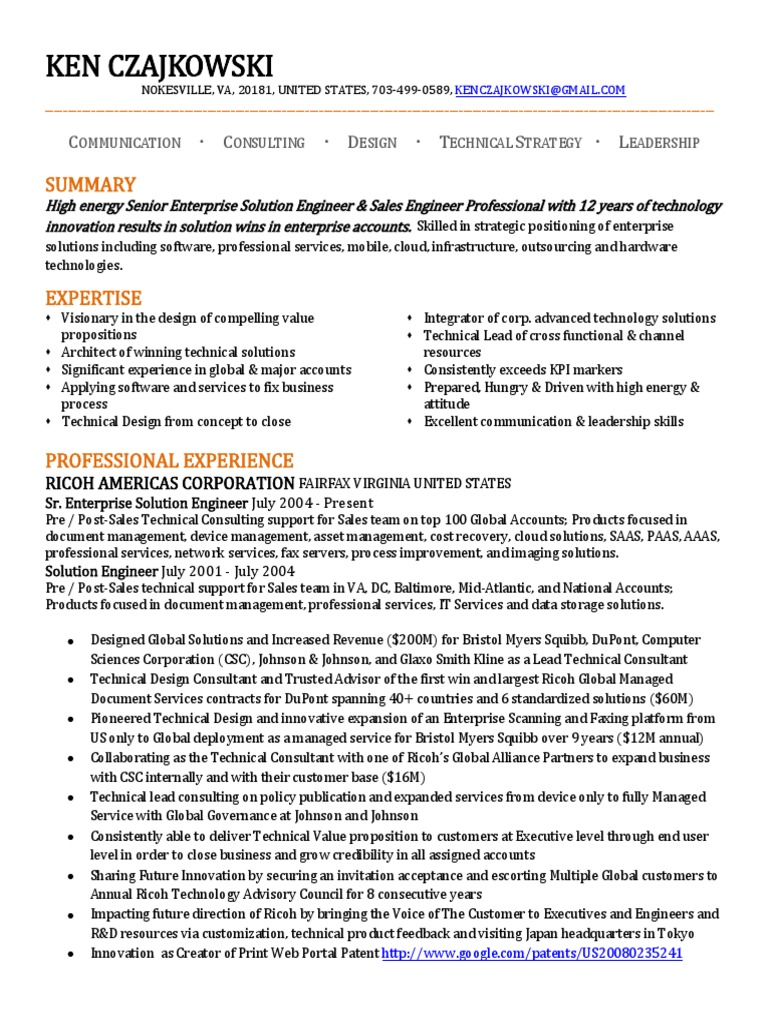 Download Senior Consultant Systems Engineer in Washington DC Resume ...