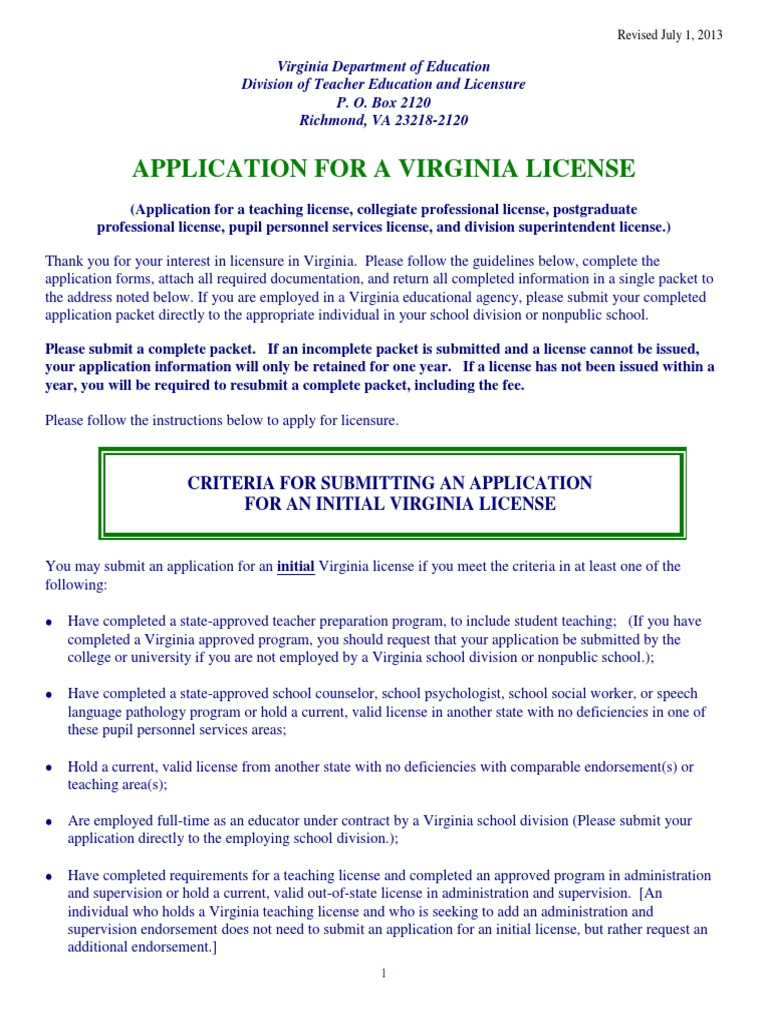 Download virgina teaching license application docshare 1betcityfo Gallery
