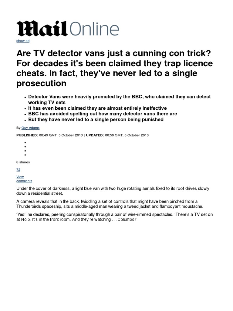 Are TV Detector Vans Just a Cunning Con Trick_ for Decades