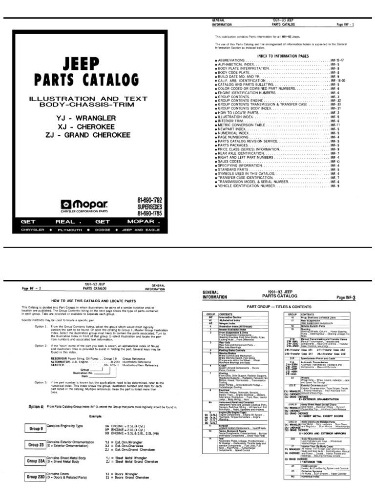 1991 1993 Jeep Parts Catalogue Mopar 229 593 Fuse Box