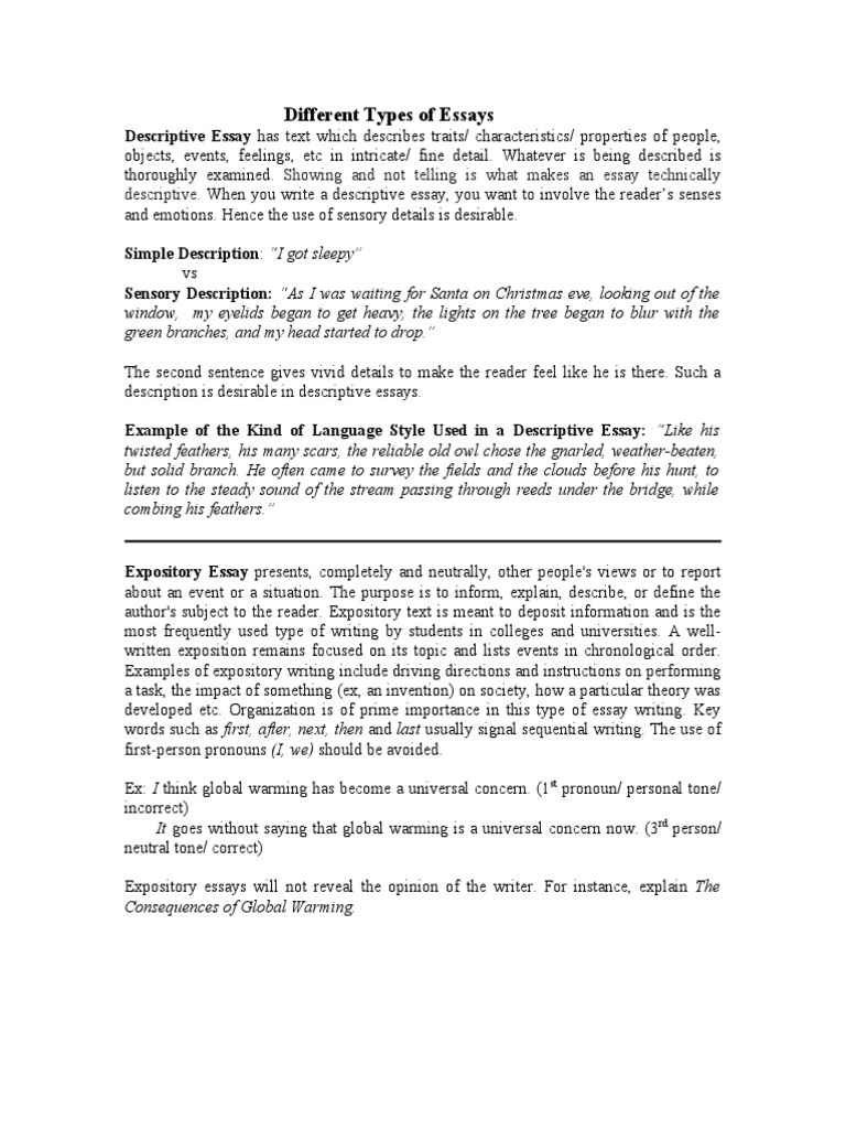 different types of descriptive essays What are the different types of essays - 5 main types of essays are descriptive essay, narrative essay, argumentative essay, persuasive essay, expository.