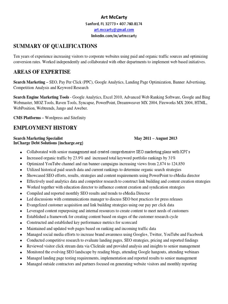 Seo Analyst Integrated Marketing In Fl Resume Art Mccarty Docshare