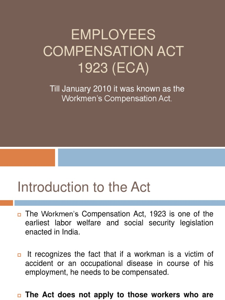 Workmen Compensation Act 1923 India Pdf