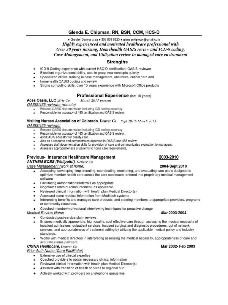 Download Rn Icd 9 Certified Oasis Reviewer In Denver Co Resume
