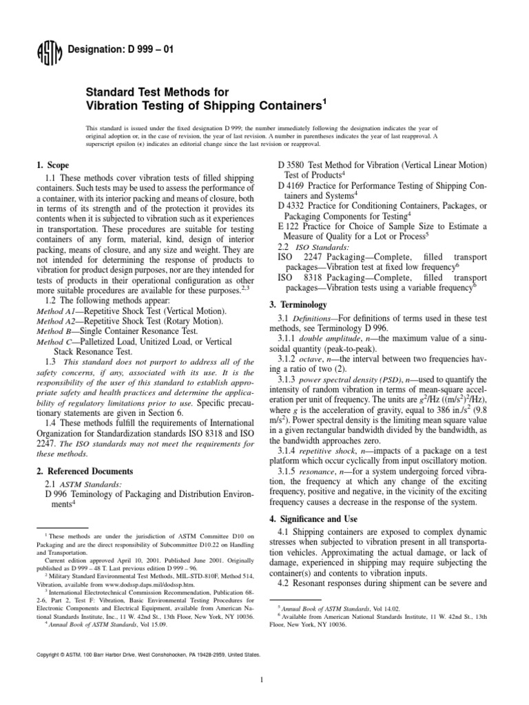 Astm d 999 01 vibration testing of shipping containers docshare falaconquin