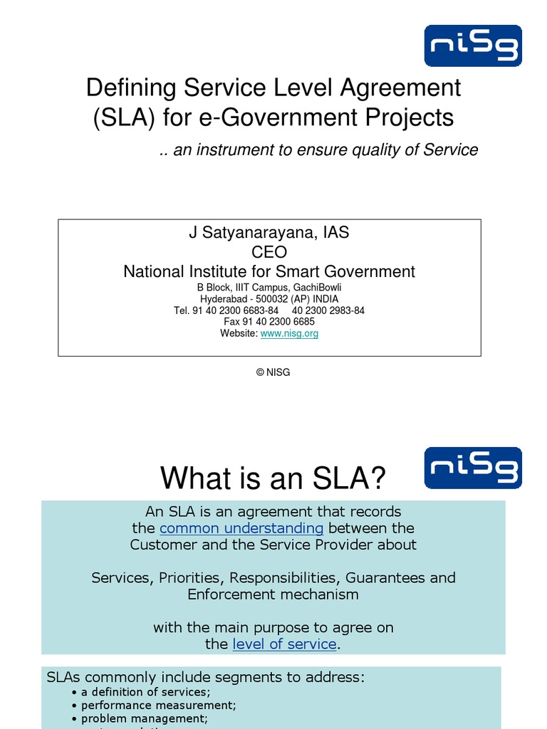 17defining Service Level Agreement Sla For E Gov Projects
