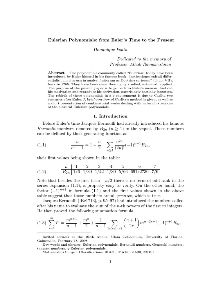 Eulerian Polynomials For Euler's Time To Present Download Polynomial Function  Factor Theoremcx Docshare