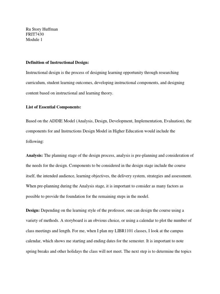 Definition Of Instructional Design Addie Docshare