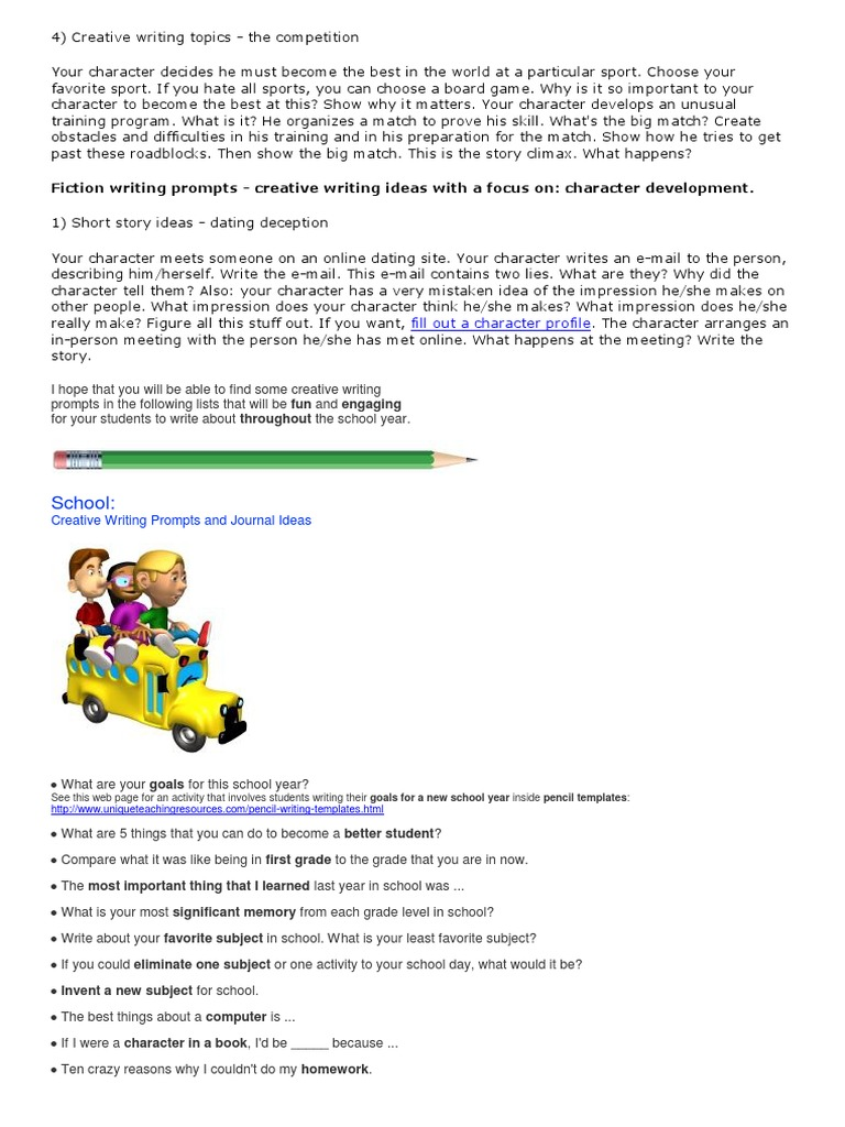 list creative writing prompts This page contains creative journal writing prompts for students super teacher worksheets also has thousands of writing worksheets and printable activities.