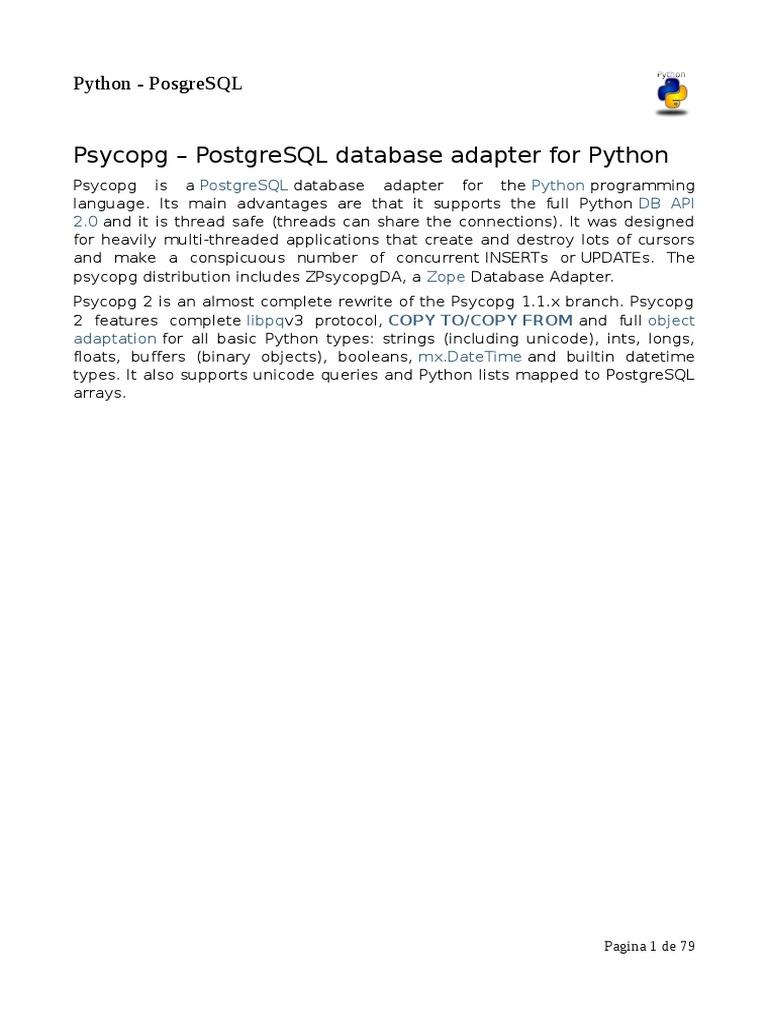 Psycopg – PostgreSQL database adapter for Python pdf