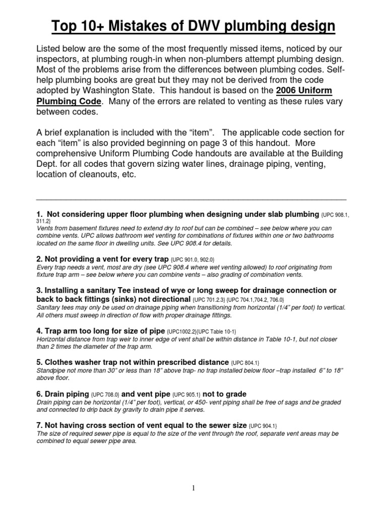 Top 10 plumbing mistakes handout-4-09 pdf - DocShare tips