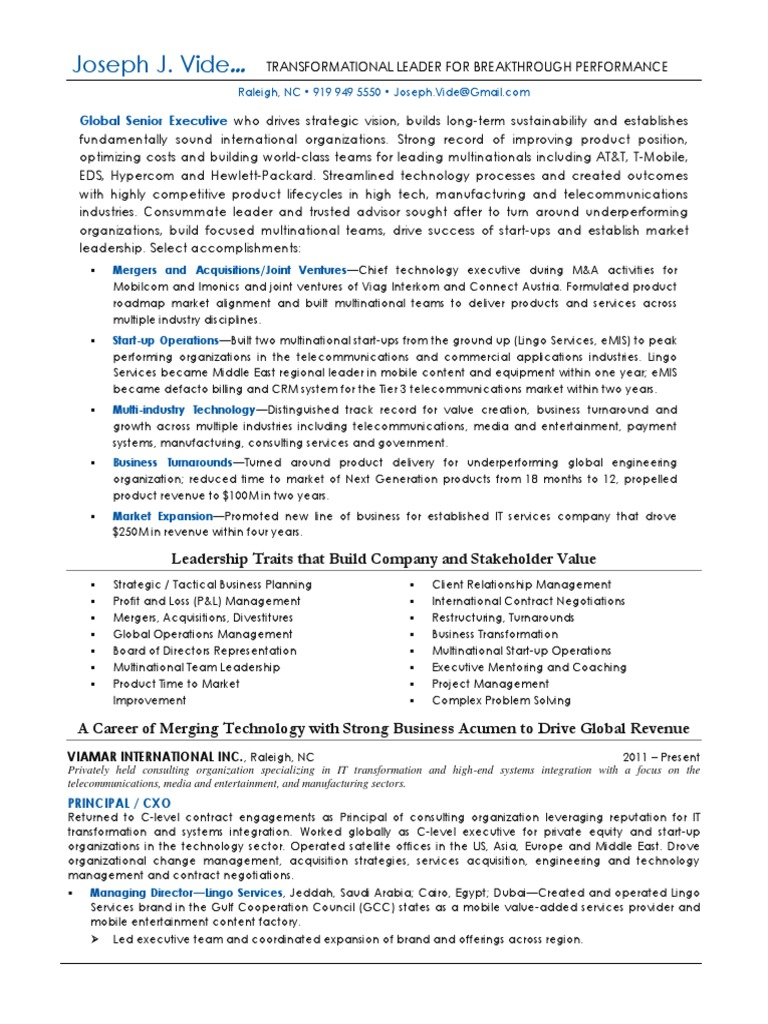 Download VP Engineering Technology CTO In Atlanta GA Resume Joseph ...