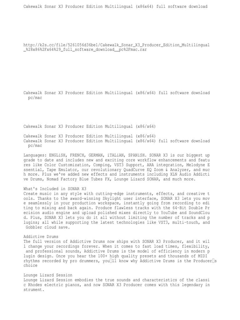 Cakewalk Sonar X3 Producer Edition Multilingual (x32x64