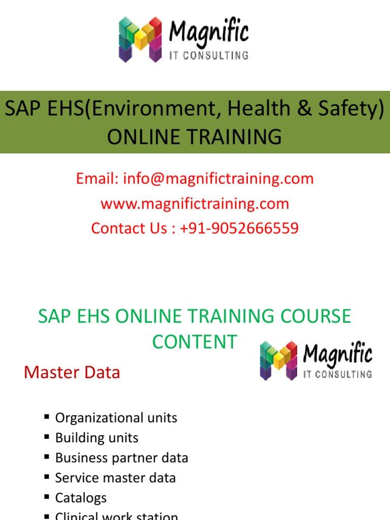 SAP EHS online training & CERTIFICATION@MAGNIFICTRAINING - DocShare.tips