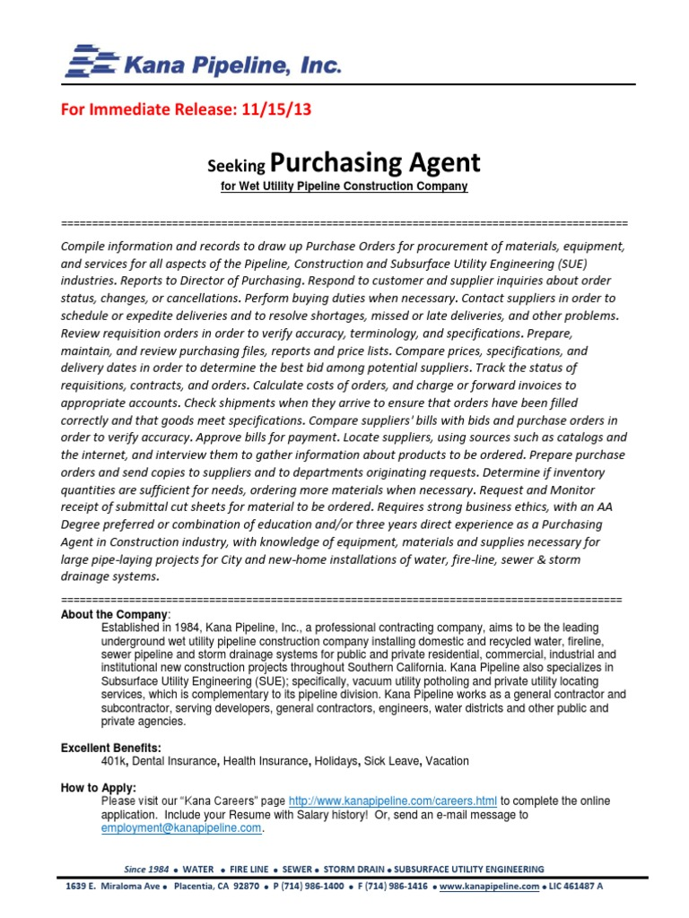 Purchasing Agent Job Opening - DocShare.tips