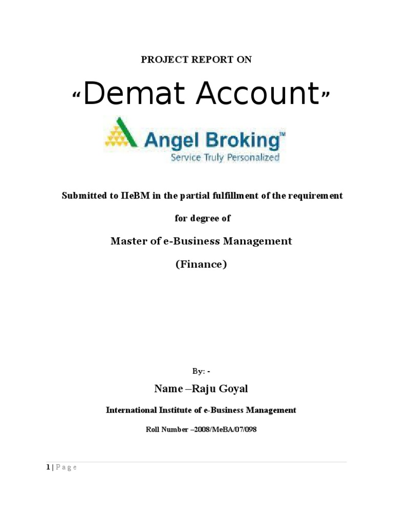 demat account project for 12th in marathi