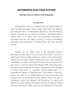 thesis about automated election Even automated election provided high security, there were still computer experts that bombarded the whole system or hacked the computers and manipulated the results and i think that it is actually possible that cheaters came from the people who developed the system.