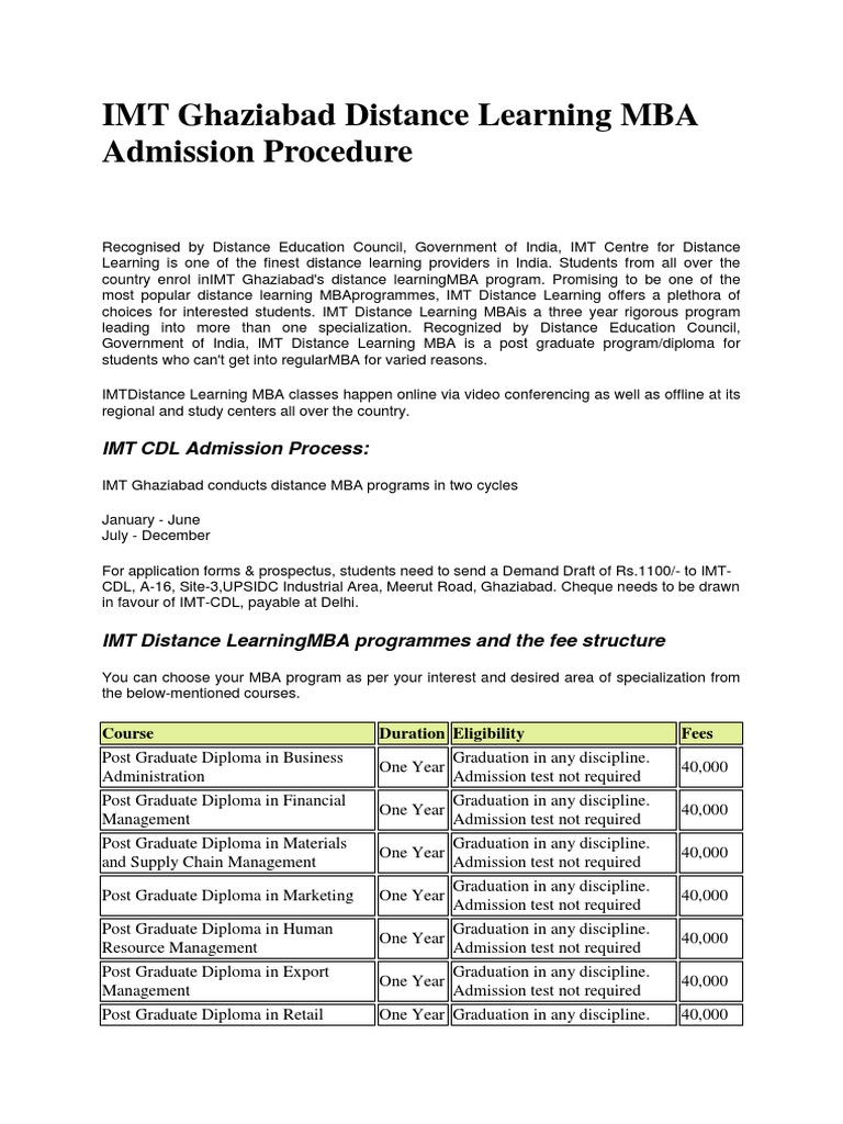 IMT Ghaziabad Distance Learning MBA Admission Procedure - DocShare tips