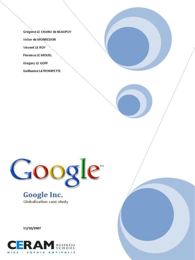 google inc case study Google in china - a case study  the study highlights the impact that google had to undergo during 2002-2010 period of time in  awesome inc theme.